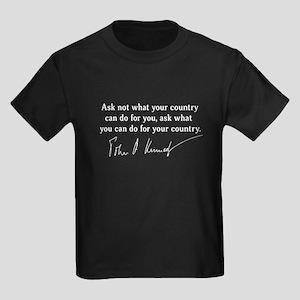 JFK Inaugural Quote Kids Dark T-Shirt