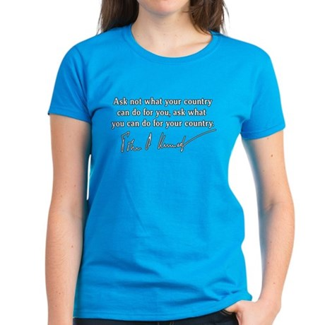 JFK Inaugural Quote Women's Dark T-Shirt