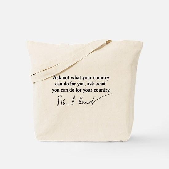 JFK Inaugural Quote Tote Bag