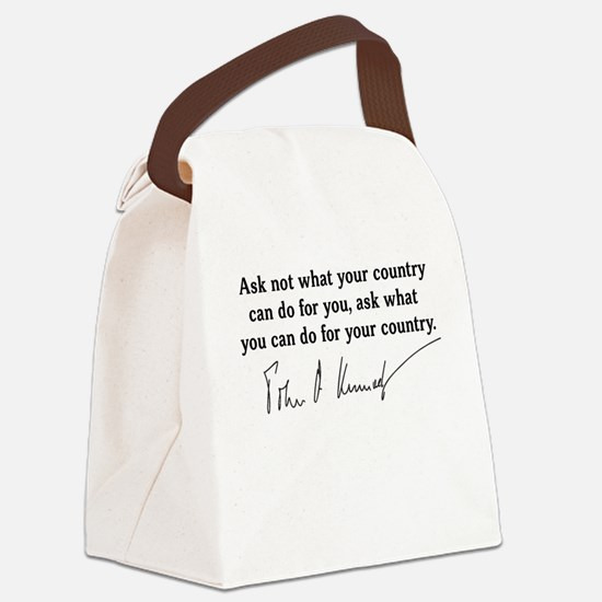 JFK Inaugural Quote Canvas Lunch Bag