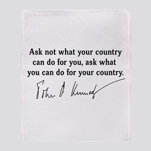 JFK Inaugural Quote Throw Blanket