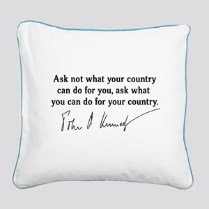 JFK Inaugural Quote Square Canvas Pillow
