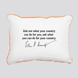 JFK Inaugural Quote Rectangular Canvas Pillow