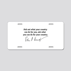 JFK Inaugural Quote Aluminum License Plate