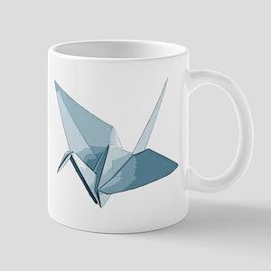 Blue origami crane Mugs