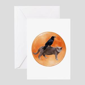 Cat Raven Moon Greeting Card