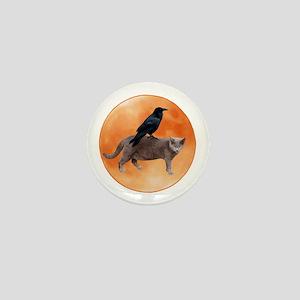 Cat Raven Moon Mini Button