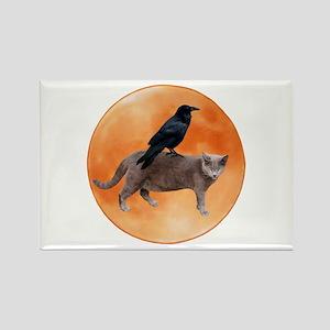 Cat Raven Moon Rectangle Magnet