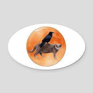 Cat Raven Moon Oval Car Magnet