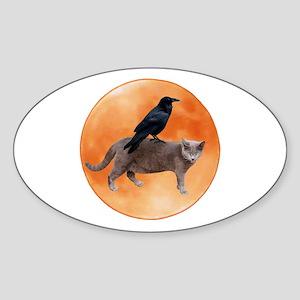 Cat Raven Moon Sticker (Oval)