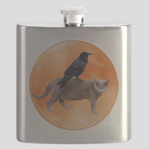 Cat Raven Moon Flask
