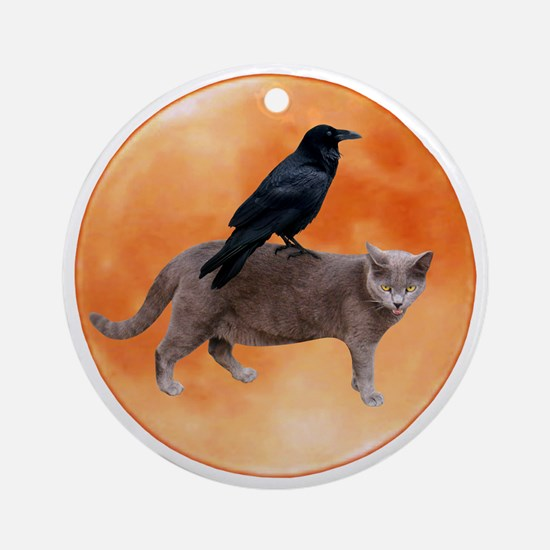 Cat Raven Moon Ornament (Round)