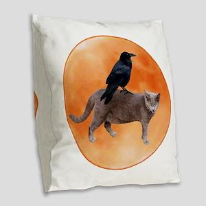 Cat Raven Moon Burlap Throw Pillow