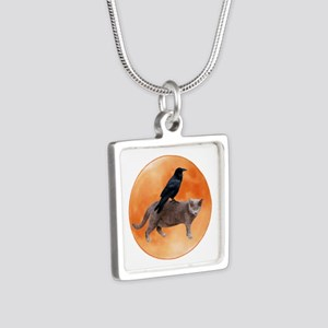 Cat Raven Moon Silver Square Necklace