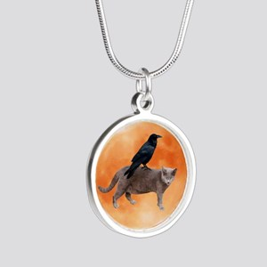 Cat Raven Moon Silver Round Necklace