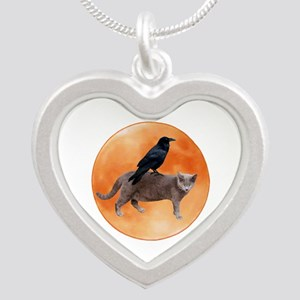 Cat Raven Moon Silver Heart Necklace