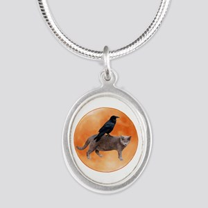 Cat Raven Moon Silver Oval Necklace