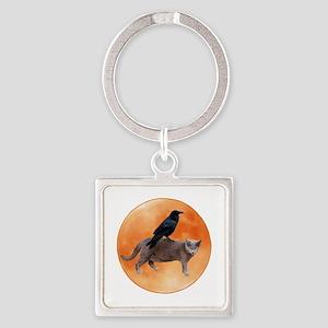 Cat Raven Moon Square Keychain