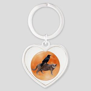 Cat Raven Moon Heart Keychain