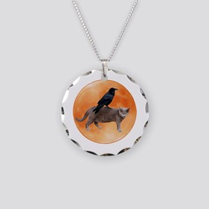 Cat Raven Moon Necklace Circle Charm