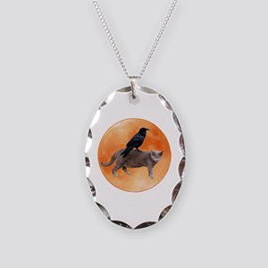 Cat Raven Moon Necklace Oval Charm