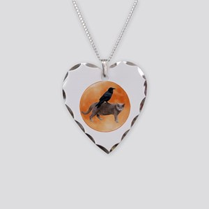 Cat Raven Moon Necklace Heart Charm