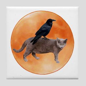 Cat Raven Moon Tile Coaster