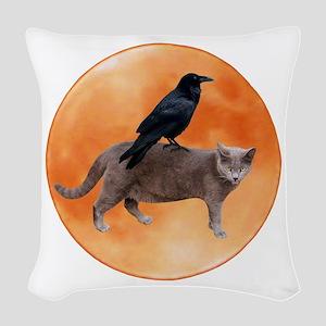 Cat Raven Moon Woven Throw Pillow