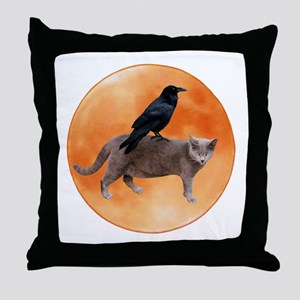 Cat Raven Moon Throw Pillow