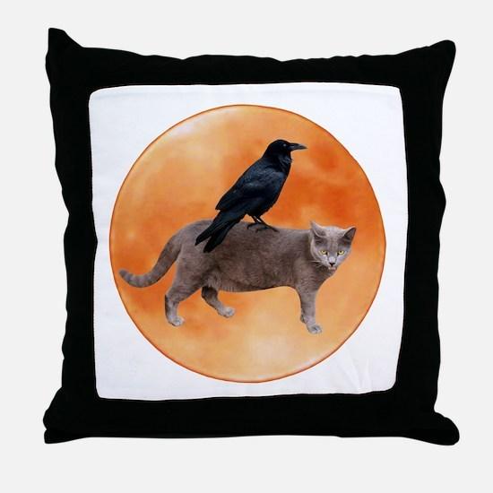 Cat Raven Moon Throw Pillow