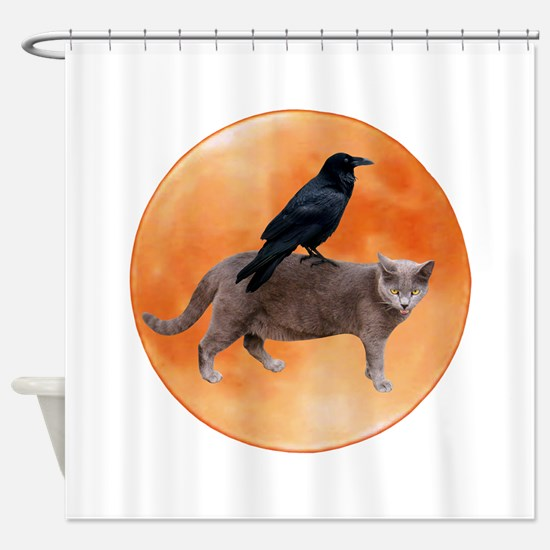 Cat Raven Moon Shower Curtain