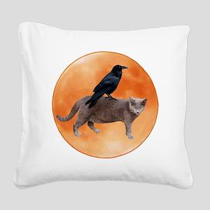 Cat Raven Moon Square Canvas Pillow