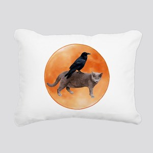 Cat Raven Moon Rectangular Canvas Pillow