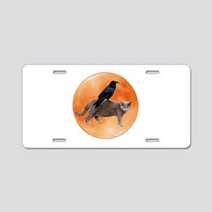 Cat Raven Moon Aluminum License Plate