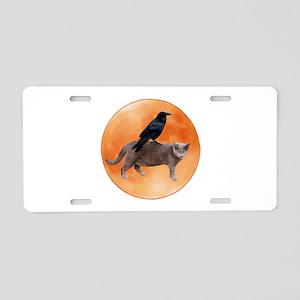 Cat Raven Moon Aluminum License Plate