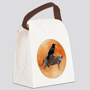 Cat Raven Moon Canvas Lunch Bag