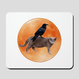 Cat Raven Moon Mousepad