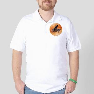 Cat Raven Moon Golf Shirt