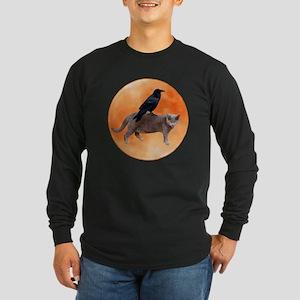 Cat Raven Moon Long Sleeve Dark T-Shirt