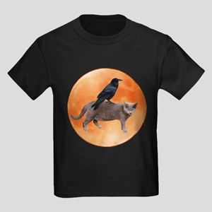 Cat Raven Moon Kids Dark T-Shirt