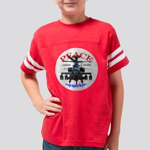 AH-64 helicopter shirt white  Youth Football Shirt