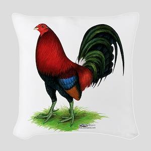 Dark Red Gamecock Woven Throw Pillow