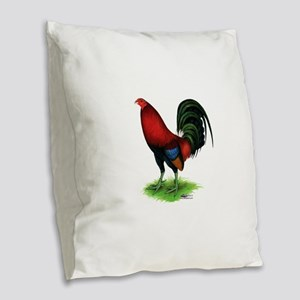 Dark Red Gamecock Burlap Throw Pillow