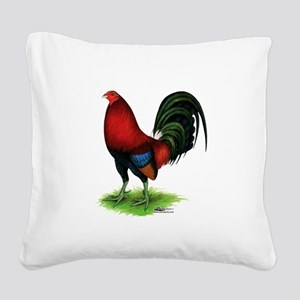 Dark Red Gamecock Square Canvas Pillow