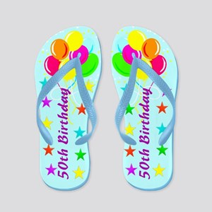 SNAZZY 50TH Flip Flops