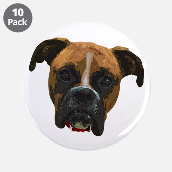 "Boxer face005 3.5"" Button (10 pack)"
