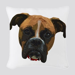 Boxer face005 Woven Throw Pillow