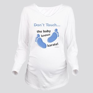 Baby Knows Karate Blue Long Sleeve Maternity T-Shi