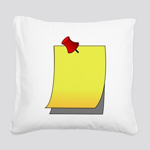 Push Pin Note Square Canvas Pillow