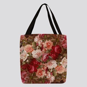Floral Pink Roses Polyester Tote Bag